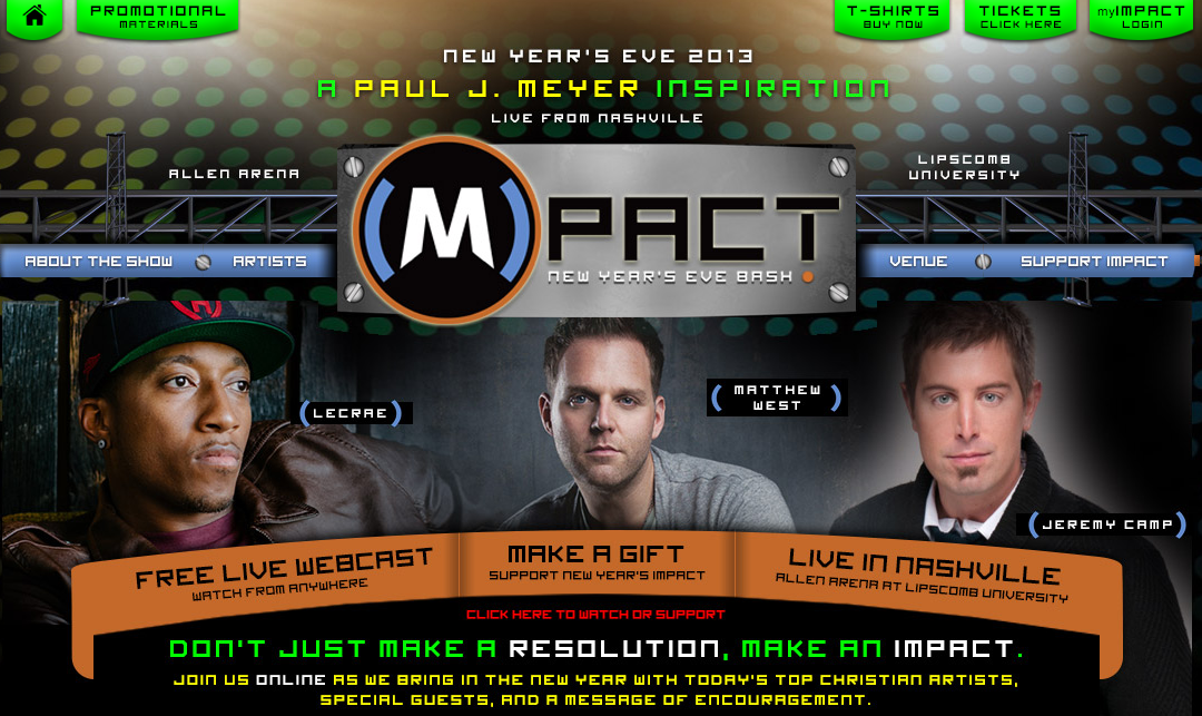 Impact – A Global New Years Eve Bash w/ Lecrae, Matthew West, Jeremy Camp